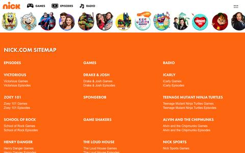 Screenshot of Site Map Page nick.com - Sitemap | Nick.com - captured Feb. 10, 2017