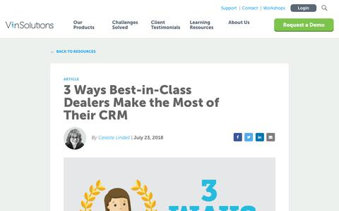 Screenshot of Blog vinsolutions.com - VinSolutions - Blog - 3 Ways Best-in-Class Dealers Use Their CRM - captured Dec. 3, 2019