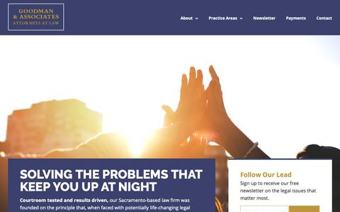 Screenshot of Home Page goodman-law.com - Home - Goodman & Associates - captured Sept. 29, 2018