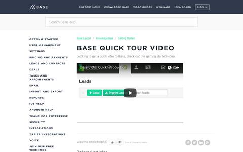 Screenshot of Support Page getbase.com - Base quick tour video – Base Support - captured Oct. 9, 2018