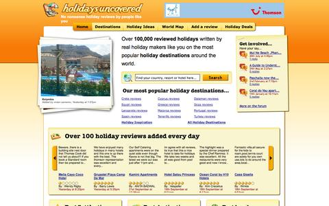 Screenshot of Home Page holidays-uncovered.co.uk - Hotel Reviews and Holiday Reviews - captured Sept. 23, 2014