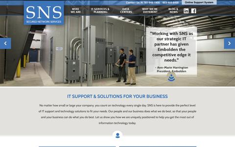 Screenshot of Home Page sns.com - Managed IT - Outsourced IT - Consulting | SNS - captured Feb. 23, 2016
