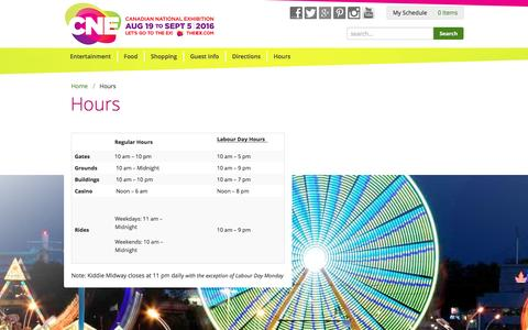 Screenshot of Hours Page theex.com - Hours - captured Jan. 24, 2016
