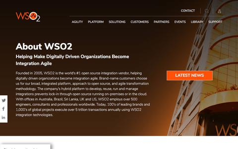 Screenshot of About Page wso2.com - About - captured July 20, 2019