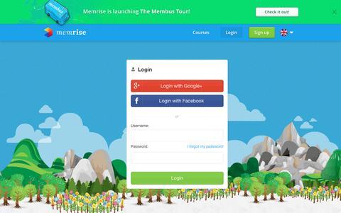 Screenshot of Login Page memrise.com - Login - Memrise - captured Dec. 11, 2015