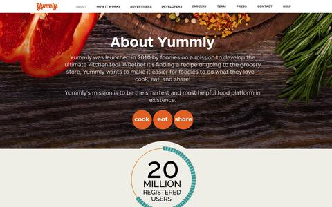 Screenshot of About Page yummly.com - About - Yummly - captured Aug. 11, 2017