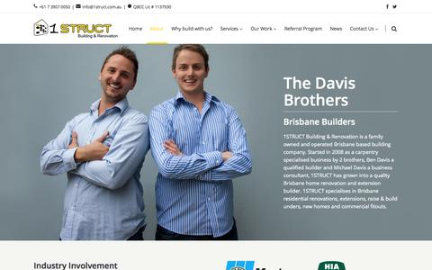 Screenshot of About Page brisbanehomerenovationsandextensions.com.au - 1STRUCT |   About Us - captured Oct. 27, 2014