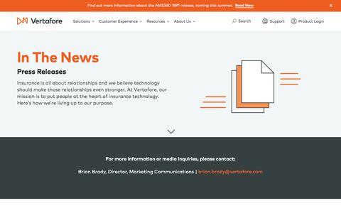 Screenshot of Press Page vertafore.com - In The News | Vertafore - captured June 14, 2018