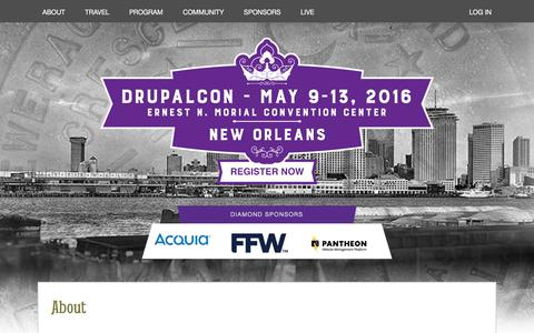 Screenshot of About Page drupal.org - About   DrupalCon - captured May 21, 2016