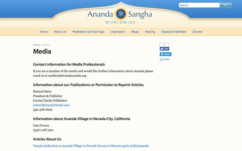 Screenshot of Press Page ananda.org - Media - Ananda Sangha Worldwide - captured June 24, 2017