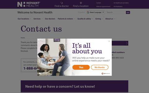 Screenshot of Contact Page novanthealth.org - Contact us | Novant Health - captured Oct. 3, 2018