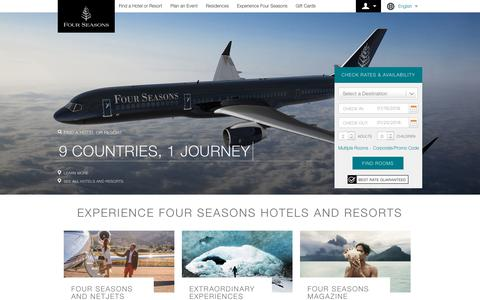 Screenshot of Home Page fourseasons.com - Four Seasons Hotels and Resorts | Luxury Hotels | Four Seasons - captured Jan. 20, 2018