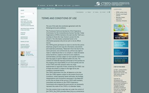 Screenshot of Terms Page ctbto.org - Terms and Conditions of Use: CTBTO Preparatory Commission - captured Oct. 30, 2014