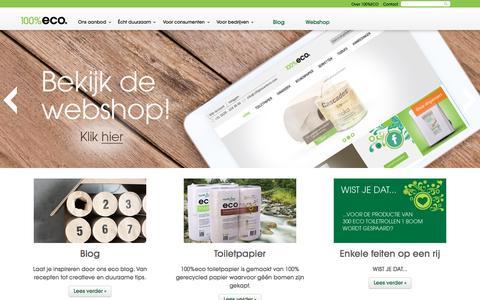 Screenshot of Home Page 100procenteco.nl - 100% Eco - captured Feb. 13, 2016