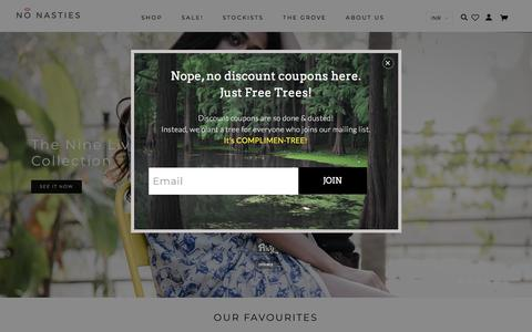 Screenshot of Home Page nonasties.in - No Nasties - 100% Organic Fair Trade Cotton Clothing. Ethical Fashion, Sustainable Clothing. Made In India. - captured Sept. 20, 2018