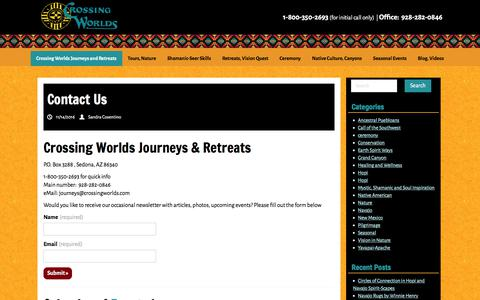 Screenshot of Contact Page crossingworlds.com - Contact Us - Crossing Worlds Journeys and Retreats - captured Sept. 16, 2017