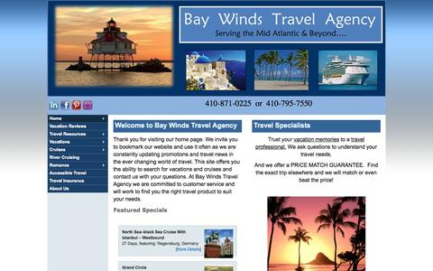 Screenshot of Home Page baywindstravel.com - Home - Bay Winds Travel Agency, Inc - captured Oct. 11, 2015