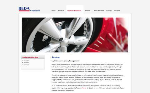 Screenshot of Services Page redachem.com - Services - Warehousing and Logistics, Inventory Management - captured Oct. 26, 2014