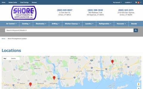 Screenshot of Contact Page Locations Page shoretv.com - Contact Shore TV & Appliance in Connecticut - captured July 7, 2018