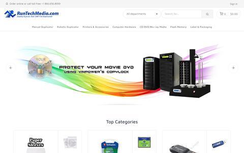Screenshot of Home Page runtechmedia.com - CD DVD Duplicator / Copier | Blu-ray Media | DVD Printer, Case, Sleeves | LightScribe Duplicator | SD Duplicator - RunTechMedia - captured July 10, 2018