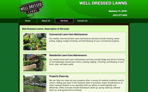 Screenshot of Services Page welldressedlawns.com - WELL DRESSED LAWNS Maitland Lawn Services - captured Oct. 26, 2014