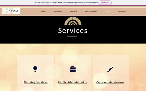 Screenshot of Services Page nfocusplanning.org - Services  Kannapolis   N-Focus - captured Oct. 19, 2018