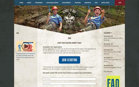 Screenshot of Signup Page stlbsa.org - Boy Scouts of Greater Saint Louis - captured Nov. 15, 2016