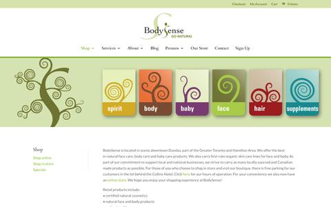 Screenshot of Products Page bodysense.org - Shop In Store - Body Sense - captured Nov. 6, 2018