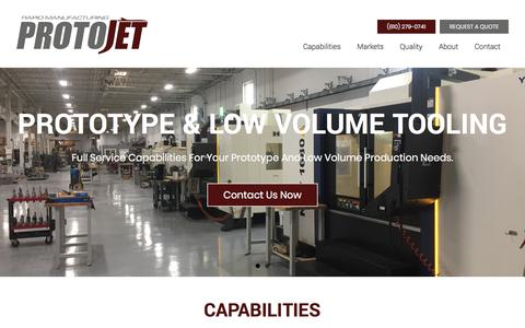 Screenshot of Home Page protojet.com - Prototype & Low Volume Tooling - ProtoJet Rapid Manufacturing - captured Sept. 14, 2017
