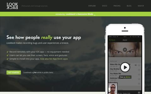 Screenshot of Home Page lookback.io - Lookback - See how people really use your apps! - captured Sept. 16, 2014