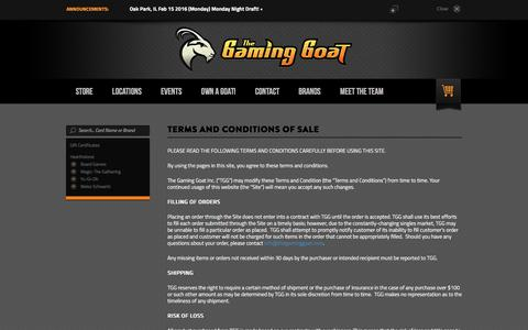 Screenshot of Terms Page thegaminggoat.com - Terms and Conditions of Sale - captured Feb. 15, 2016