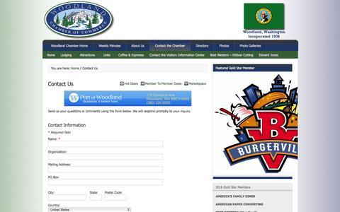 Screenshot of Contact Page woodlandwachamber.com - Contact Us - captured Nov. 30, 2016