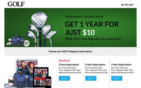 Screenshot of Landing Page golf.com - Golf Magazine Subscription Offer - captured May 11, 2018