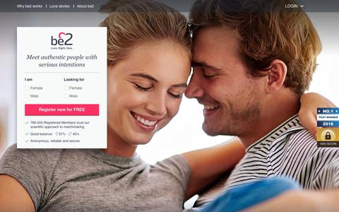 Screenshot of Home Page be2.com - Matchmaking service from be2 - start now! - captured July 14, 2018