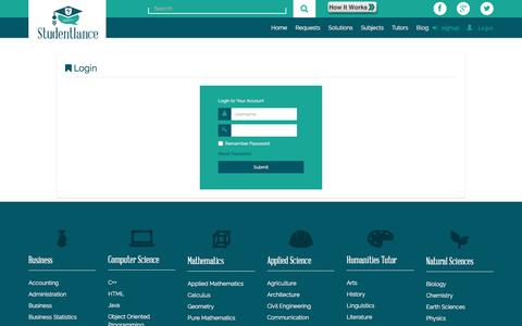 Screenshot of Login Page studentlance.com - Login : Tutor Homework Help Online, Tutoring Online - StudentLance - captured Nov. 6, 2016
