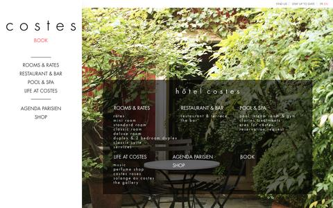 Screenshot of Site Map Page hotelcostes.com - hôtel costes - captured July 17, 2016