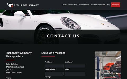 Screenshot of Contact Page turbokraft.com - Contact Us | Turbo Kraft - captured Nov. 12, 2017