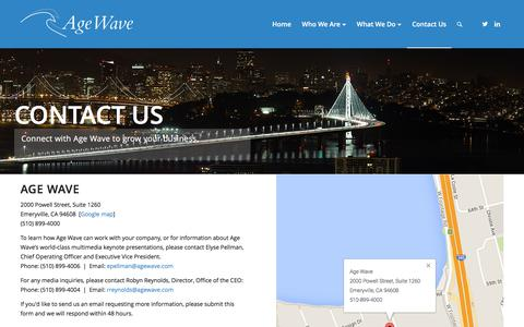 Screenshot of Contact Page agewave.com - Contact Us – Age Wave - captured July 25, 2016