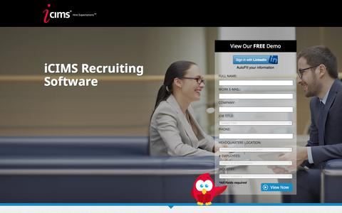 Screenshot of Landing Page icims.com - iCIMS Applicant Tracking Software - captured Dec. 3, 2016