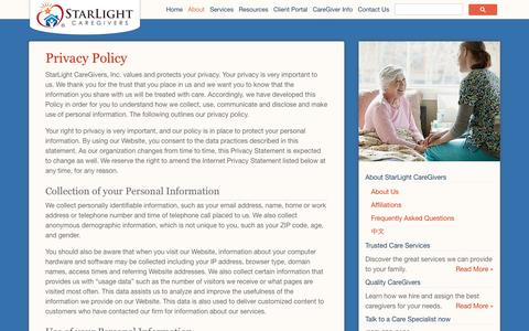 Screenshot of Privacy Page starlightcaregivers.com - Privacy Policy | Starlight Caregivers - captured Oct. 7, 2014