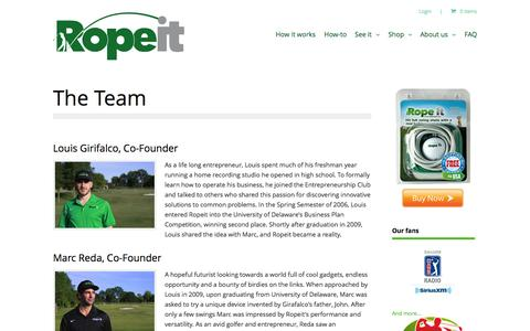 Screenshot of Team Page theropeit.com - The Team | The Ropeit - captured Oct. 6, 2014