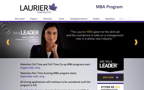 Screenshot of Home Page lauriermba.ca - Laurier MBA | MBA Programs in Waterloo & Toronto - captured July 19, 2015