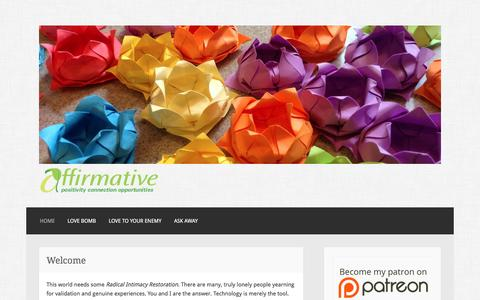 Screenshot of Home Page affirmative.org - Affirmative – Positivity Connection Opportunities - captured July 24, 2016