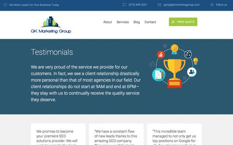 Screenshot of Testimonials Page gkmarketinggroup.com - Section: Testimonials | GK Marketing Group - captured July 14, 2018
