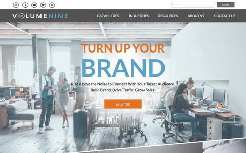 Screenshot of Home Page v9digital.com - Volume Nine: Denver SEO, Content Marketing & Social Media Agency - captured July 26, 2019