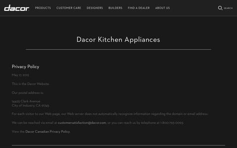 Screenshot of Privacy Page dacor.com - Privacy Policy   Dacor Appliances - captured Aug. 5, 2018