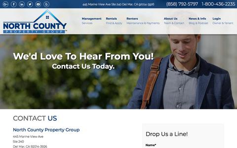 Screenshot of Contact Page ncpropertygroup.com - Contact Us | North County Property Group - captured Sept. 23, 2018