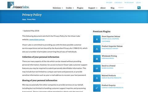 Screenshot of Privacy Page visser.com.au - Privacy Policy | Visser Labs - captured Oct. 19, 2018