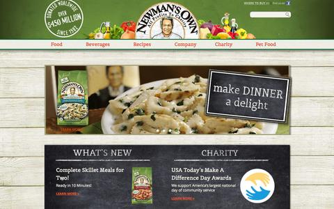 Screenshot of Home Page newmansown.com - Newman's Own - captured Oct. 2, 2015
