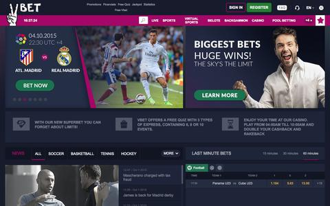 Screenshot of Home Page vbet.com - Vbet - Sport betting, Poker, Casino, Online Games - captured Oct. 1, 2015
